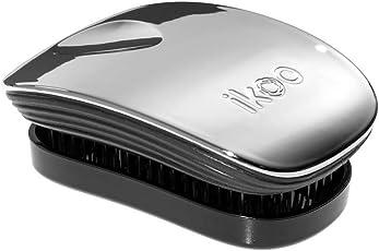 IKOO 德国直发梳 按摩梳魔力美发梳 经典简约系列便携型 牡蛎灰-黑底(亚马逊自营商品, 由供应商配送)