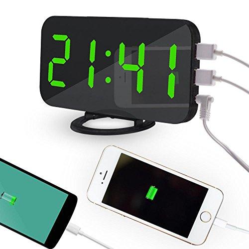 Pawaca 2018ミラーデジタルLED目覚まし時計、携帯電話用デュアルUSBポート、6.5インチ大画面、自動調光、ノブ機能、調光モード - ホワイトフォントグリーンフォントFBA-USGO13c-C3-4000