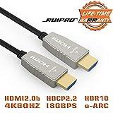 HDMI 光纤电缆 RUIPRO 4K60HZ HDR 50 英尺光速 HDMI2.0b 电缆,支持 18.2 Gbps、ARC、HDR10、HDCP2.2、4:4:4、超薄灵活的 HDMI 光缆,光纤技术 15mSNAOC20142010 10m