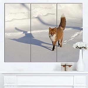 "Designart MT13106-271 带足印的棕色冬季猫 - 超大动物金属墙壁艺术 棕色 36x28"" - 3 Panels MT13106-3P"