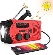 [2020 *新版本] RegeMoudal 紧急太阳能手动曲柄收音机,NOAA 天气收音机,适用于 AM/FM,LED 手电筒,2000 mAh 移动电源和 SOS 报警