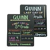 定制产品解决方案 首天和*后一天学校黑板标志。 照片道具板,黑色,带彩色印花 - 30.48 cm x 25.4 cm 长方形 2 件套