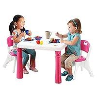 STEP2 晋阶 桌椅组合(粉白) 儿童游戏桌 学习桌 多功能积木桌椅套装 719600