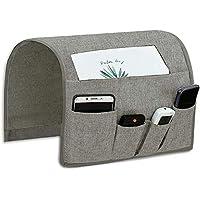 Joywell 沙发扶手收纳袋,6 个口袋在沙发上和椅子上的遥控支架,用于电视遥控器、杂志、书籍、手机、iPad 浅灰色 13'' x 35'' - Concave