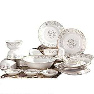 瓷来啦 CR561景德镇骨瓷餐具套装碗套装碗碟盘陶瓷餐具 (56头, 太阳岛)