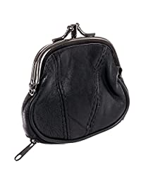 Marshal 女式皮革吻锁零钱包(黑色)