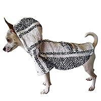 Yani's Gifts 巴哈斗篷狗狗衣服,温暖狗赛拉普,舒适正品巴哈狗连帽衫,狗狗的舒适Jerga斗篷,黑白*小狗连帽衫 白色和黑色 小号