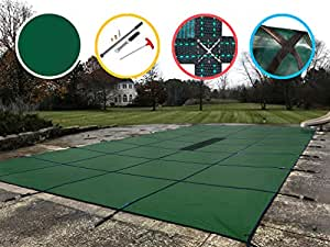 Water Warden Pool Safety Cover Solid Green 20 by 50-Feet Pool