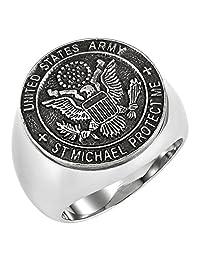 男式圣 michaels proctect 美国尺码祈祷美国*不锈钢戒指