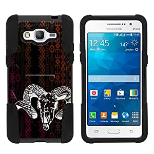 Galaxy Grand Prime Case, Durable Hybrid STRIKE Impact Kickstand Case with Art Pattern Designs for Samsung Galaxy Grand Prime SM-G530H, SM-G530F, SM-G530AZ (Cricket) from MINITURTLE | Includes Clear Screen Protector and Stylus Pen Tribal Ram Skull
