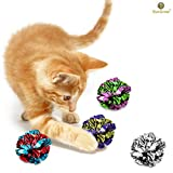 12 Mylar Crinkle 球猫 - 柔软、轻质有趣的猫咪和成人猫咪玩具 - 闪亮和压力玩具-有趣的奇妙声音 - 数小时娱乐 - 保护您的小猫咪