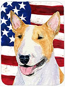 Caroline's Treasures USA American Flag with Bull Terrier Glass Cutting Board, Large, Multicolor