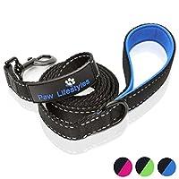 Paw Lifestyles 超重型狗绳 - 182.88 厘米长 - 3 毫米厚,软垫手柄舒适性 - 适合中大型犬的完美皮带 黑色和蓝色 6ft
