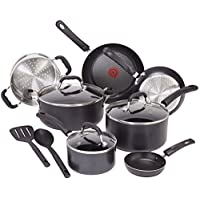 T-fal C515SC Professional Total Nonstick Thermo-Spot Heat Indicator Induction Base Cookware Set, 12-Piece, Black