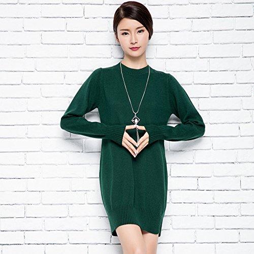 RONGDUSHIJIA 绒都世佳 秋冬半高领针织衫女套头长袖中长款韩版修身打底衫女毛衣
