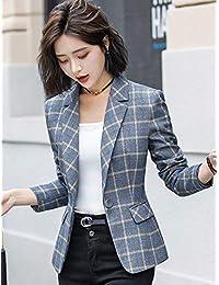 CAVOS 2018女装格子小西装外套女春秋新款chic长袖休闲大码上衣短款西服女正装971