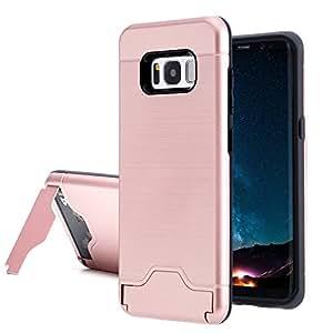 Galaxy S8 手机壳,ZB 防震防刮超薄双层卡槽混合防护支架保护壳适用于三星 Galaxy S8 Rose Gold/Black