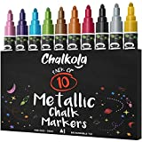 金属粉笔 - 10 支装液体粉笔-适用于黑板、黑板、咖啡机、商业、窗户-可擦拭 - 6 毫米双面子弹和凿尖
