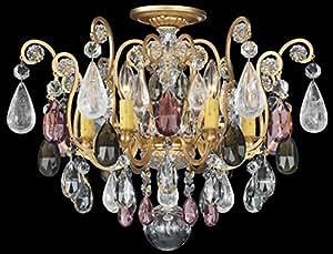 Schonbek 3584-22BK 施华洛世奇照明复兴岩水晶嵌入式灯具,传家宝金色 需配变压器