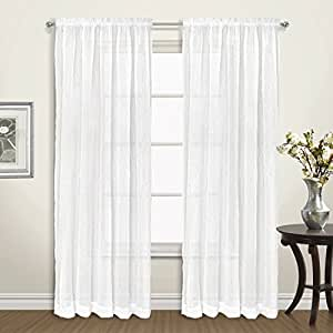 """United Curtain Venice Crushed Voile Window Panel Pair, 100 by 63"""", White, 100"""" X 63"""""""