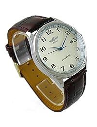 VIGOROSO 男式经典自动机械日日历奢华皮革表带手表