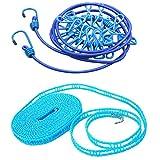 GARASANI 1.8 米 / 5.9 英尺 衣服 Line Travel 便携 防风弹性绳 带 12 个发夹 + 1.8 米 / 5.9 英尺 实用便携式旅行尼龙毛巾绳 2 件(随机颜色)