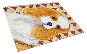Caroline's Treasures SS4329LCB Cavalier Spaniel Fall Leaves Portrait Glass Cutting Board, Large, Multicolor