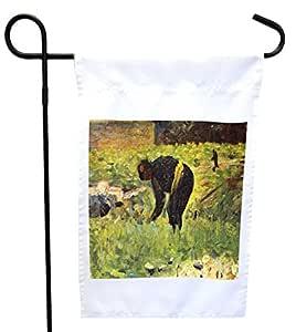 Rikki Knight Georges-Pierre Seurat 作品农场或花园旗帜,27.94 x 27.94 cm 图像,30.48 x 45.72 cm