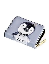 卡片钱包女式 PU 可爱图案拉链小钱包信用卡包