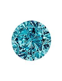 散装莫桑石罕见2.13 克拉 8.35 毫米花式蓝色 VVS1 圆形明亮式切割