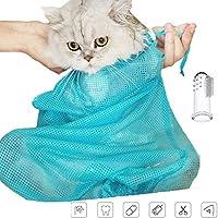 ChiChe 网眼猫咪*浴袋猫咪可调节洗衣袋适用于宠物洗澡*修剪注防刮咬咬束缚 蓝色
