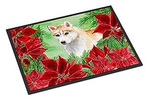 "Caroline's Treasures Siberian Husky Poinsettias 门垫-父母 多种颜色 24"" x 36"" CK1303JMAT"