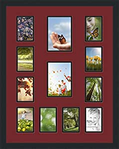 ArtToFrames 拼贴照片框双垫,带 12 个开口和黑色缎框。 枫叶 2-5x7 and 10-3.5x5 Double-Multimat-611-594/89-FRBW26079