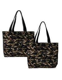 Earthwise 迷彩包手提袋时尚购物日常可重复使用的杂货袋,美国制造(2 件套)