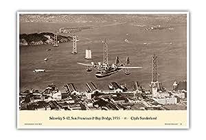 """""""泛美发店""""(Sikorsky S-42) - 旧金山桥,1935 - 泛美航空公司 - Clyde Sunderland 复古航空海报 - 艺术版画 13"""" x 19"""" PRTCCS10"""