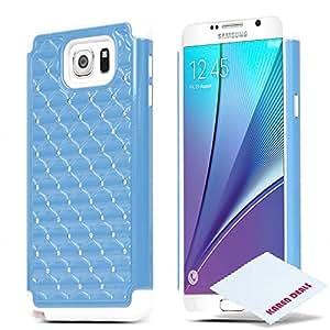 Galaxy Note 5 手机壳,硅胶双层混合塑料手机壳+ 免费 KarenDeals 超细纤维布 Light Blue/Black Bling