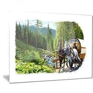 """Designart 绿色 L 码和马的数字艺术金属墙体艺术 - MT7506 28x12"""" MT7506-28-12"""