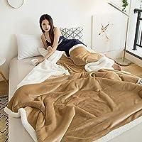 R.Xkarina 玛迪瑞娜小毛毯沙发盖毯羊羔绒双层加厚珊瑚绒办公室午睡午休空调儿童毯子KA (优雅驼, 150 * 200cm)
