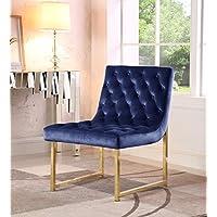 iconic 家庭 moriah Accent 电脑椅时尚优雅簇绒天鹅绒室内装饰毛绒玩具靠垫黄铜成品抛光金属框架当代现代