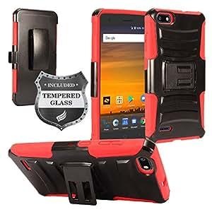 兼容 ZTE Blade Force N9517 - 混合装甲保护套带支架/皮带扣皮套+钢化玻璃屏幕保护膜 SP01 Red/Black
