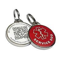 Pet Dwelling Advanced SERVICE DOG ID QR 码标签链接免费在线轮廓/照片 ID/*信息/罐头 GPS 位置(环氧涂层) Red Symbol