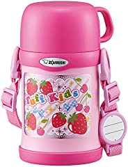 ZOJIRUSHI 水杯 兩用式 不銹鋼保溫杯 吸管&杯蓋 兒童水杯 450ml 粉紅色 SC-ZT4