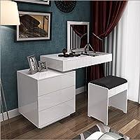 【京好】镜面烤漆梳妆台 可伸缩办公储物梳妆功能三合一D152 (白色 梳妆凳台套装)