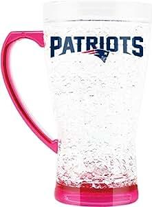 NFL 新英格兰爱国者队 453.59 克水晶冷冻喇叭马克杯带粉色底座和手柄