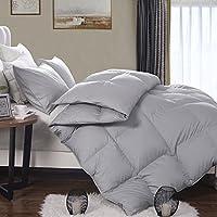 轻质鹅羽毛羽绒被子羽绒被插入季通用100% 有机棉枕套灰色