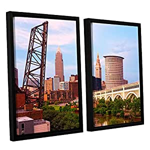 ArtWall 2-Piece Cody York's Cleveland 10 Floater Framed Canvas Set, 24 by 36-Inch