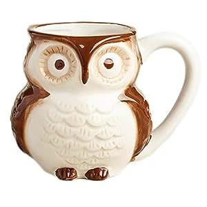 Surprise Owl 咖啡杯与婴儿猫头鹰内部 - 425.24g 棕色 7 Ounces