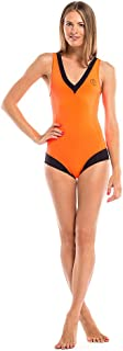 GlideSoul 女士活力条纹系列 V 领运动连体泳衣