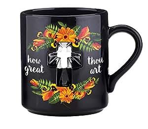 CB Gift Papel How Great Thou Art Cross Coffee Mug, Black