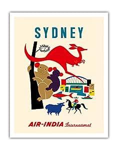 """悉尼,澳大利亚 - 印度航空国际 - 澳大利亚科拉熊、坎加罗、绵羊、牛仔和悉尼港和桥 - 复古航空公司旅行海报 S. V. Waghulkar 创作c.1959 - 精美艺术印刷品 11"""" x 14"""" APB4125"""